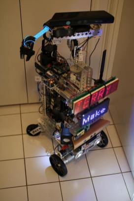 Terry. Both Terry and the Houndbot are ROS robots made primarily out of 6061 alloy parts. My goal is to have both be as autonomous as possible.