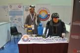 Rashid Hassain Rahimi from Qatar Scientific Club shows off their robot camel jockeys.