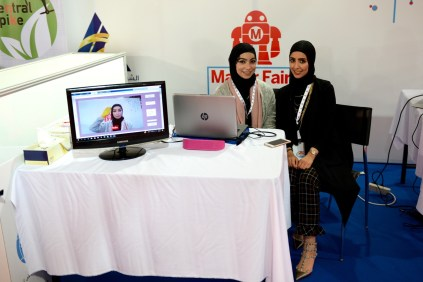 """""""My Voice,"""" a sign-language translation device, by Anfal and Sara."""