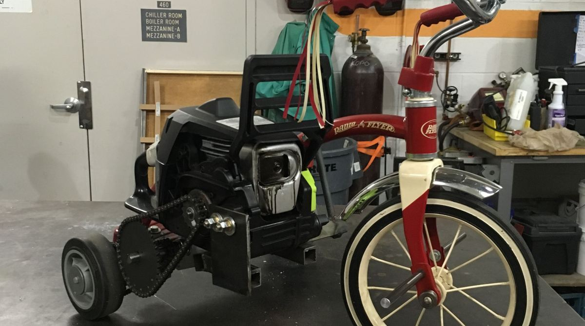 This supercharged tricycle uses an upcycled chainsaw motor make article featured image greentooth Choice Image