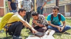 Radio Mala sets up communications in post-earthquake Kathmandu. Photo courtesy of Tribhuvan University