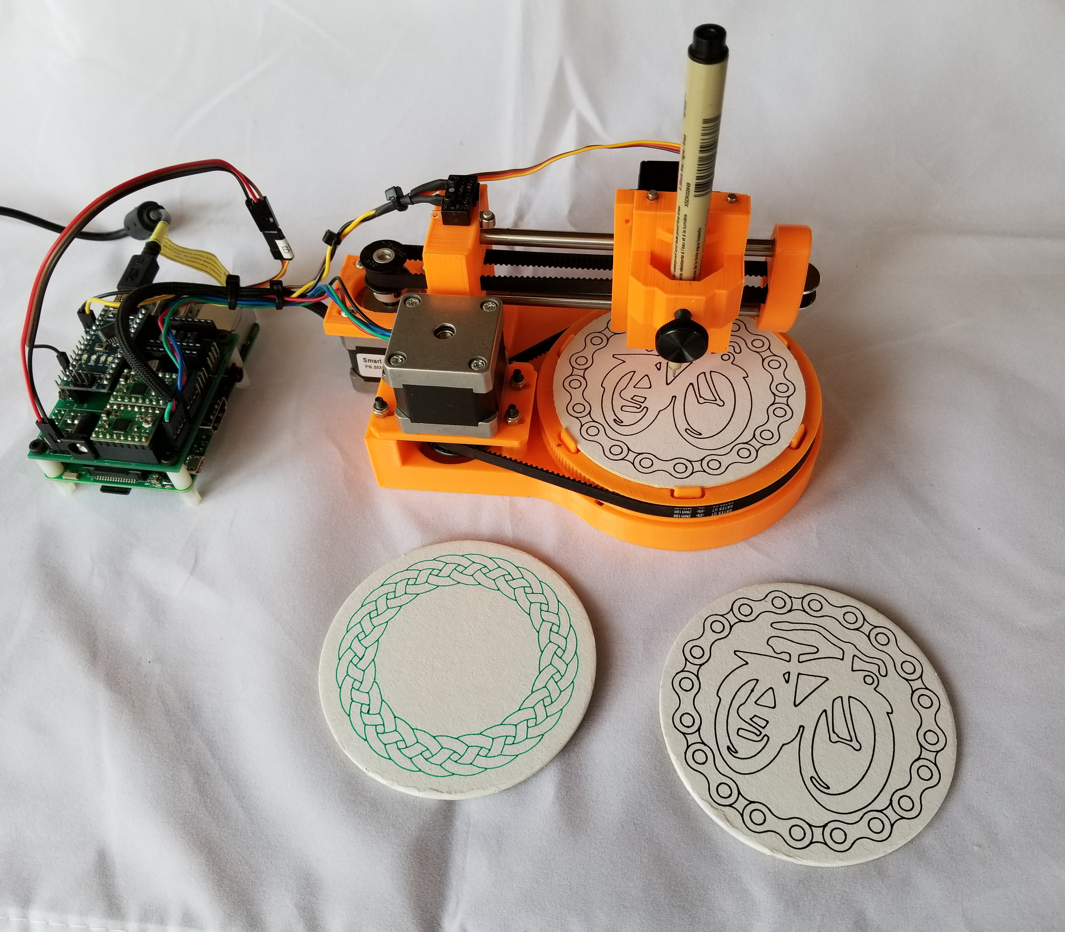 These Tiny Drawbots Put Unique Doodles on Coasters | Make: