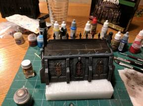 During the week, one of Blake's projects was building and painting this small chapel/crypt for our Frostgrave table.