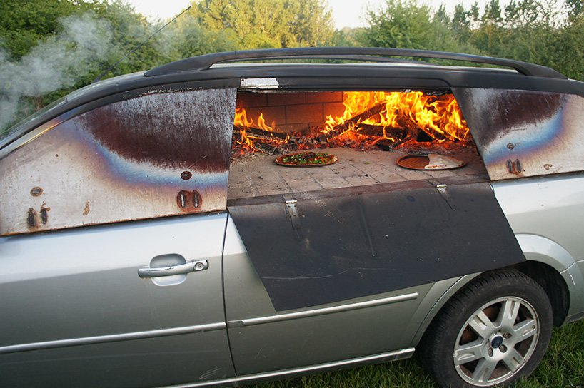 A Pizza Oven Made from an Old Car?