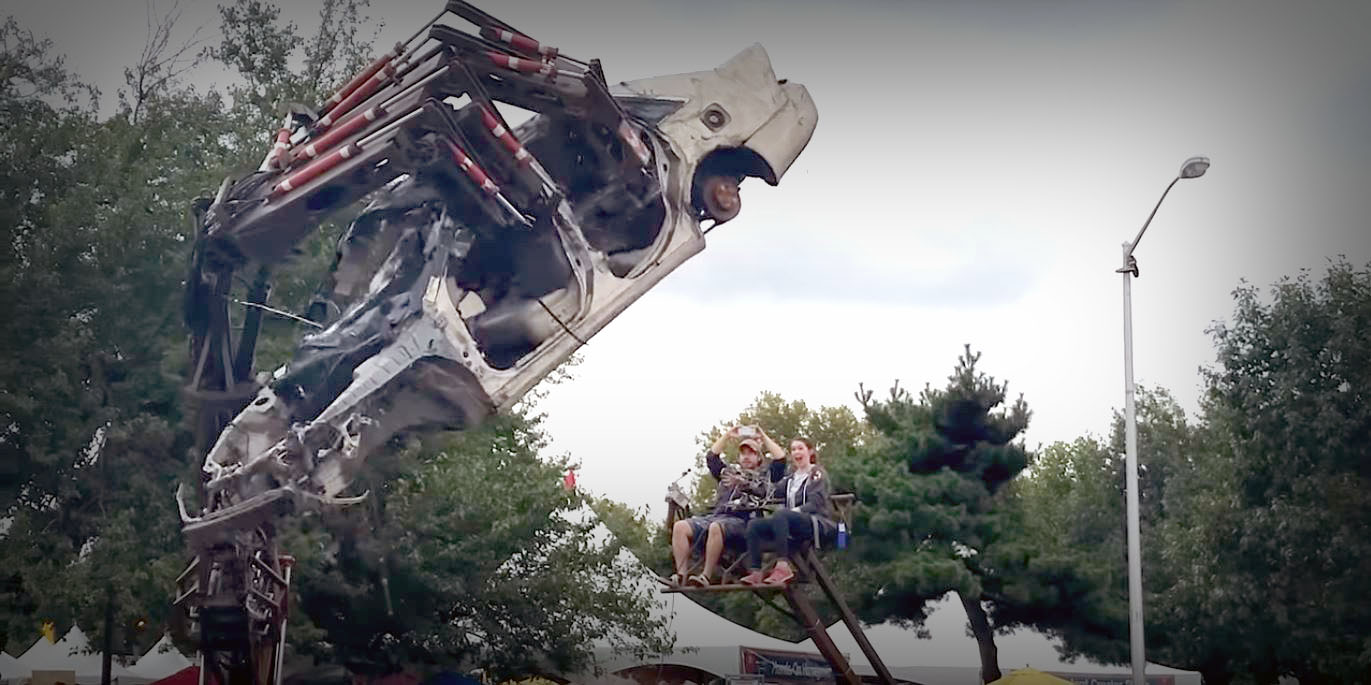 """Crushing Cars Like Empty Cans With The Massive """"Hand Of Man"""""""