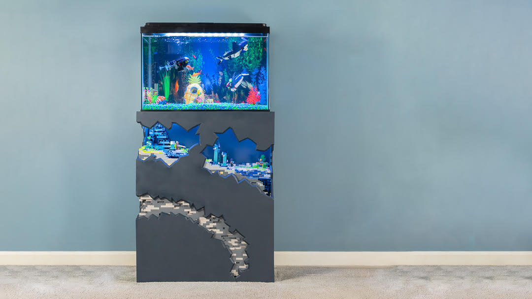 Custom Fish Tank Stand Includes Lego, Aqua Man, and Hidden Storage
