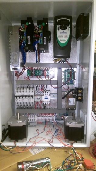 Assembled control box, first testing.