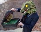 Business Lizard with Briefcase Diorama