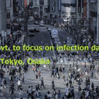 渋谷交差点の画像にGovt. to focus on infection data in Tokyo, Osakaの文字を印字した画像
