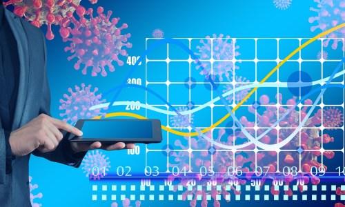 コロナウイルスとグラフの画像