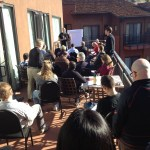 Up to All of Us community learning visual thinking skills from Dave Gray on the hotel balcony.