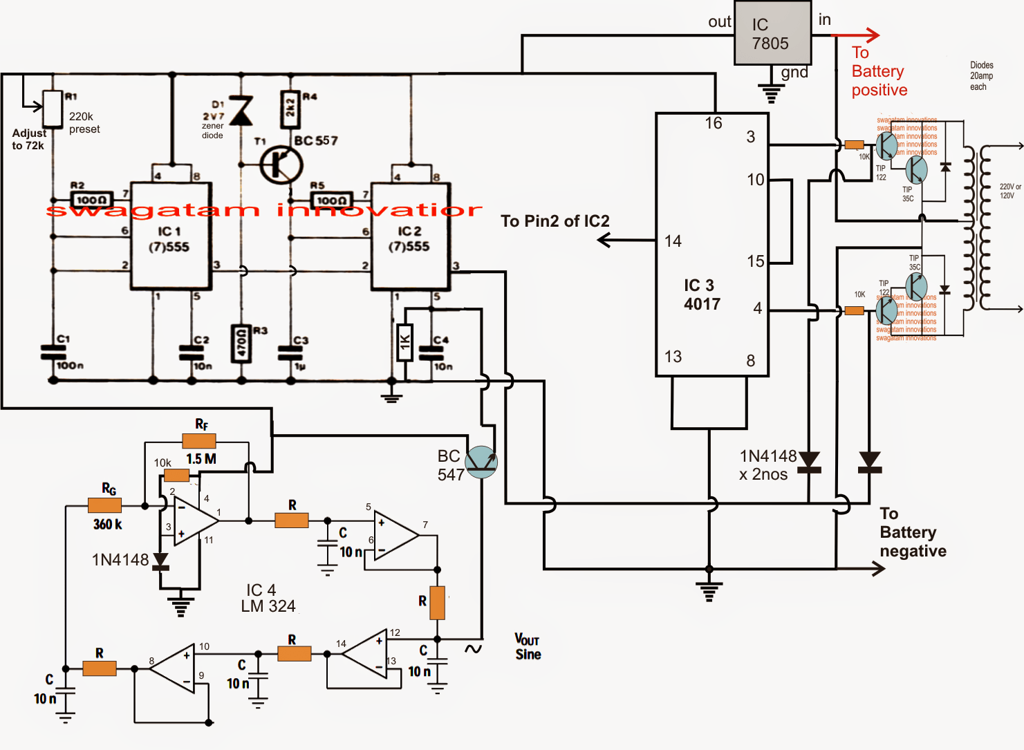 Sine Wave Inverter Circuit Using Bubba Oscillator