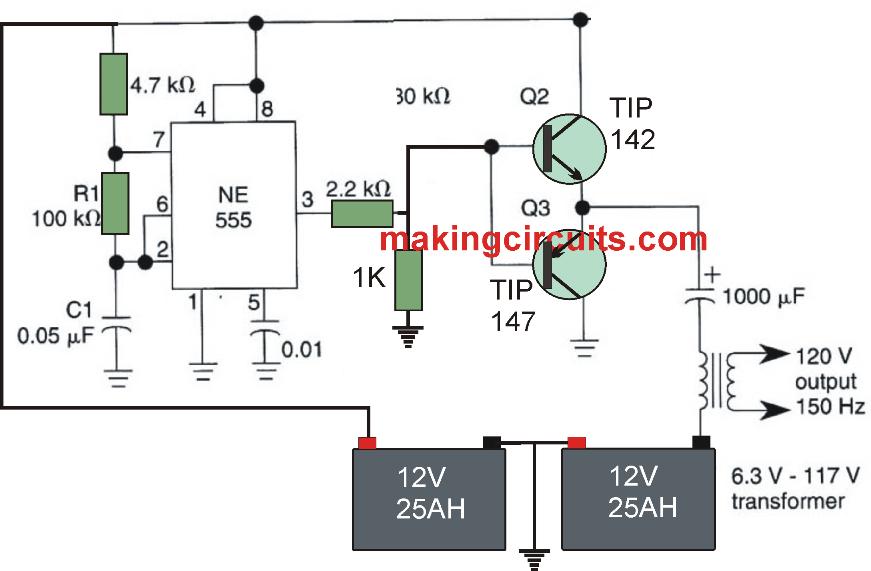 Simple Full Bridge Inverter Circuit Using Ic 555