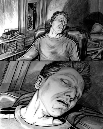 Dream Life page 5, a full page, immersive moment to moment truck in on a sleeping Charlie.