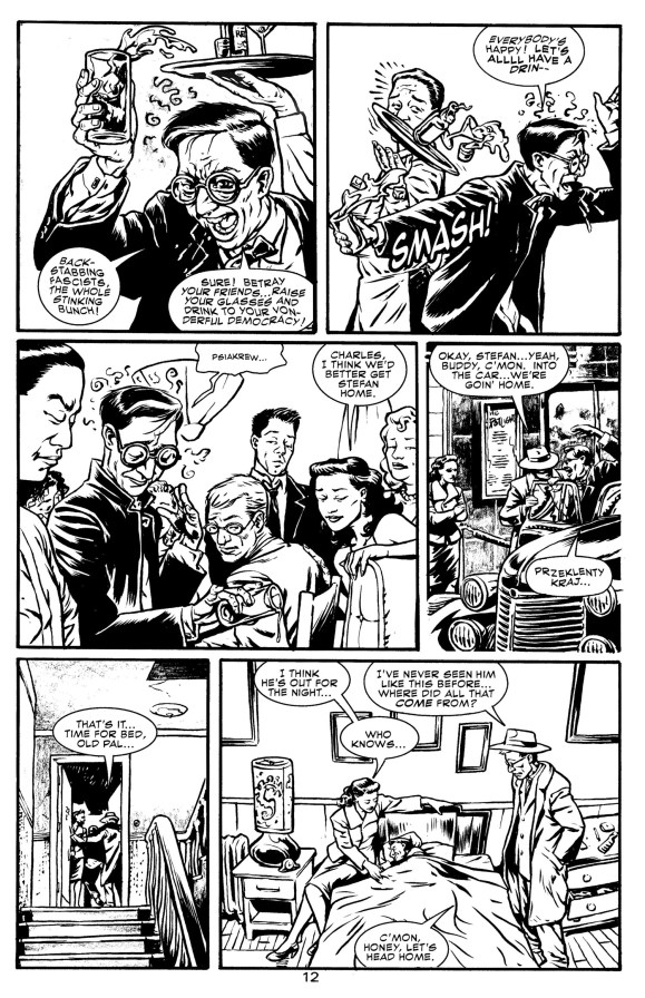 A pair of pages from 'WW vs The Red Menace' - in each after the 3rd panel, there is a Scene to Scene transition. In this one, there's a few, between the restaurant interior, exterior, and then the apt exterior, and interior shots.