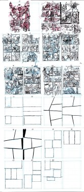 This half way scan of the same thumbnails, shows how I planed out the second half of panel layouts before filling them in. I did the story in two waves like this.