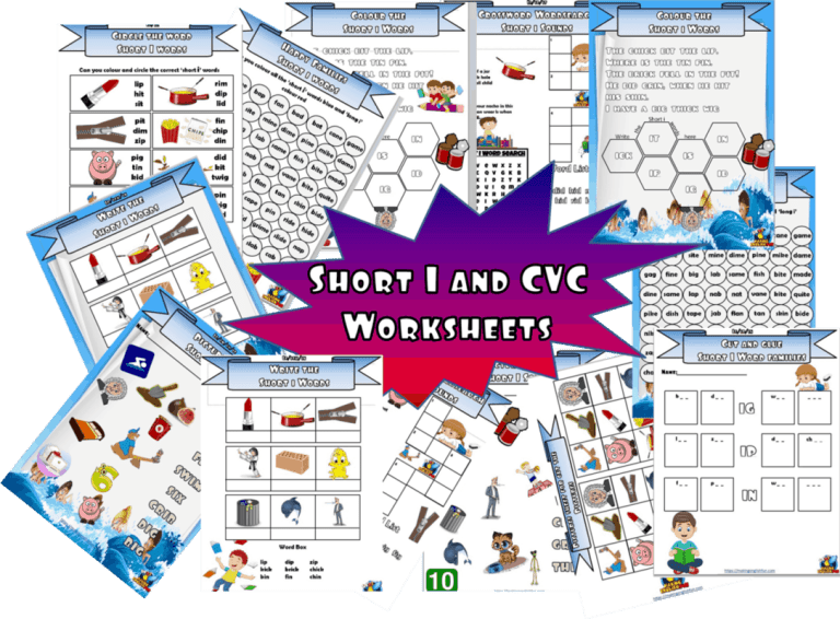 20 + Short Vowel 'i' and CVC worksheets / activities.