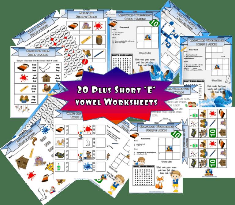 Short vowel 'e' CVC worksheets 20 plus