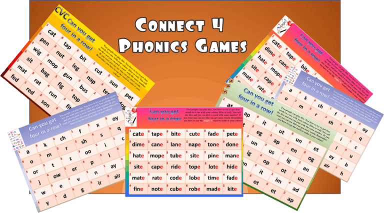 Six Connect 4 Phonics games.