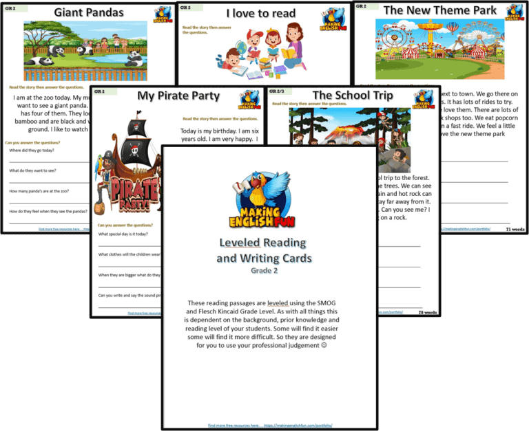 Grade 2 – Reading / Writing Comprehension Cards for KindI,  Primary and ESL Students