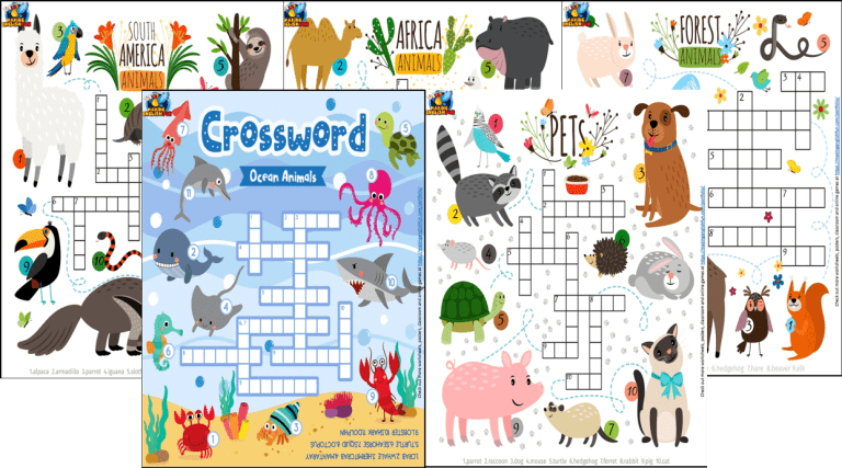 Animals Around the World – Picture Crosswords 1