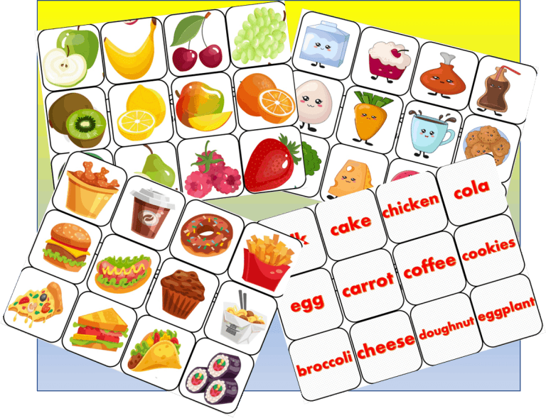 Set of 50 Food, Fruit and Vegetable MAtching cards game.