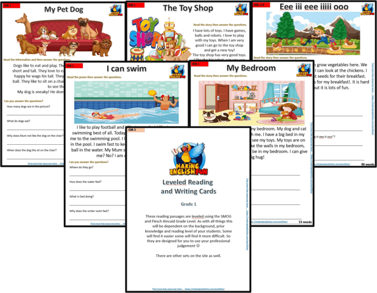 Grade 1 – Reading / Writing Comprehension Cards for KindI,  Primary and ESL Students