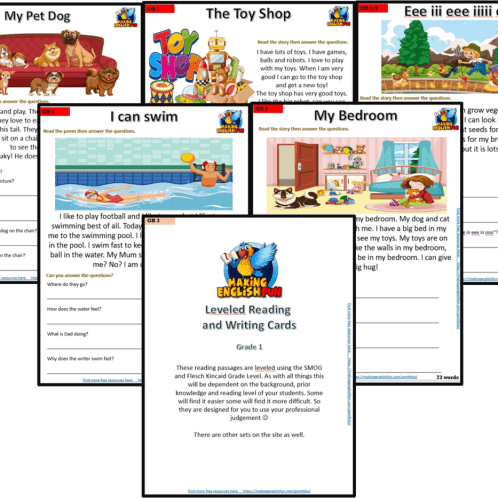 FREE Grade 1 reading comprehension worksheets