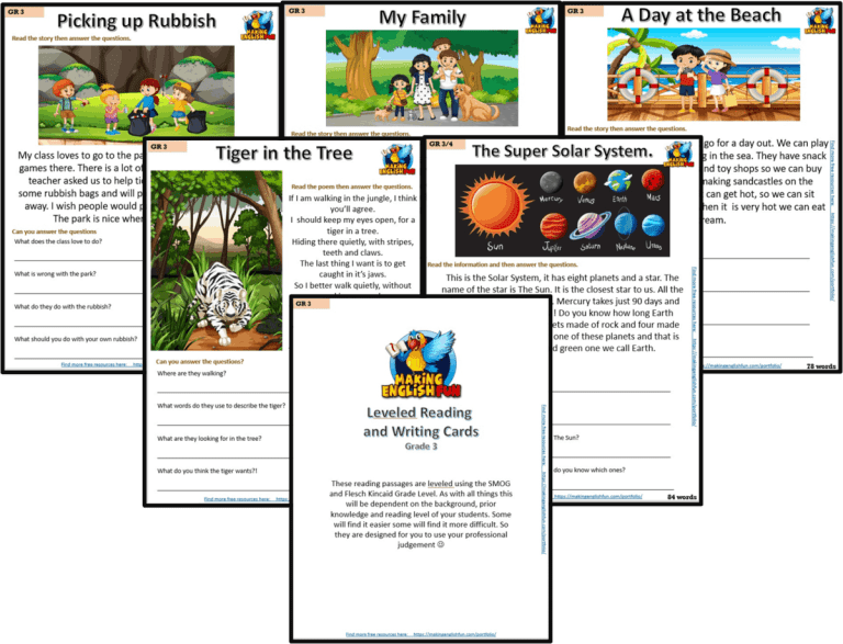 Grade 3 – Reading / Writing Comprehension Cards for KindI,  Primary and ESL Students