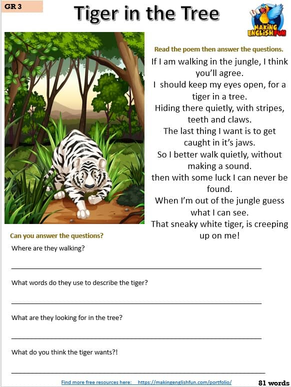 free grade three reading worksheet