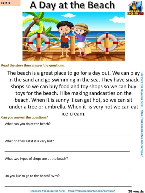 free grade three reading comprehension