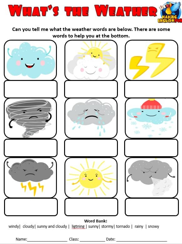 Weather Vocabulary Worksheets Fully Editable Version - Making English Fun