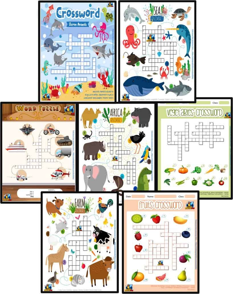 FREE Animal Crosswords Worksheets for ESL
