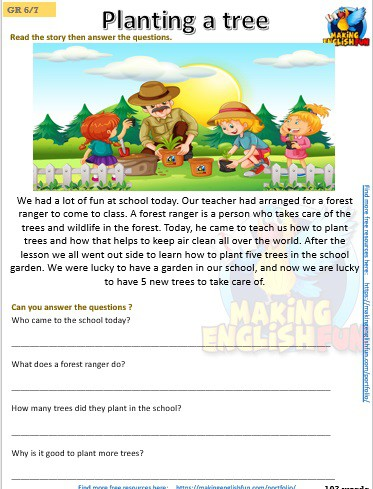 FREE grade 5 reading comprehension worksheets