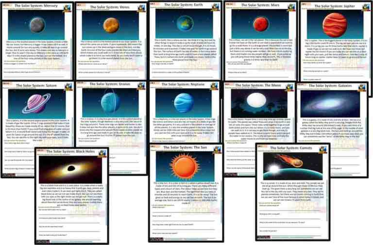 Reading and Writing Comprehension Cards – Solar System and Space – Kindergarten and Young Learners