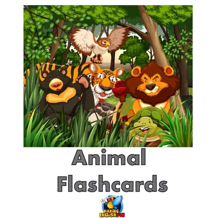 FREE Animal Flashcards for ESL kindergarten