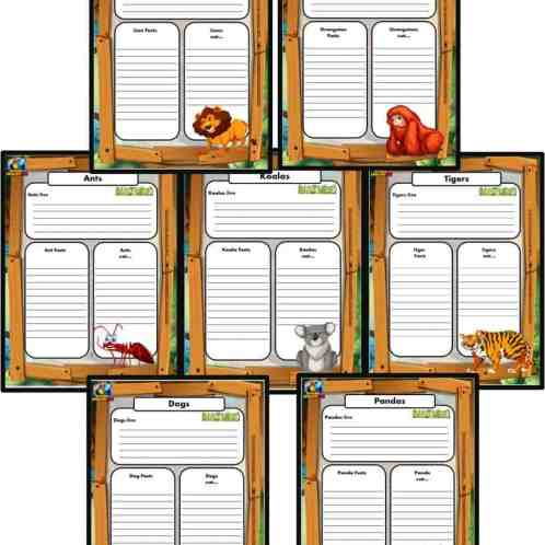 Free Animal Writing Worksheets for ESL