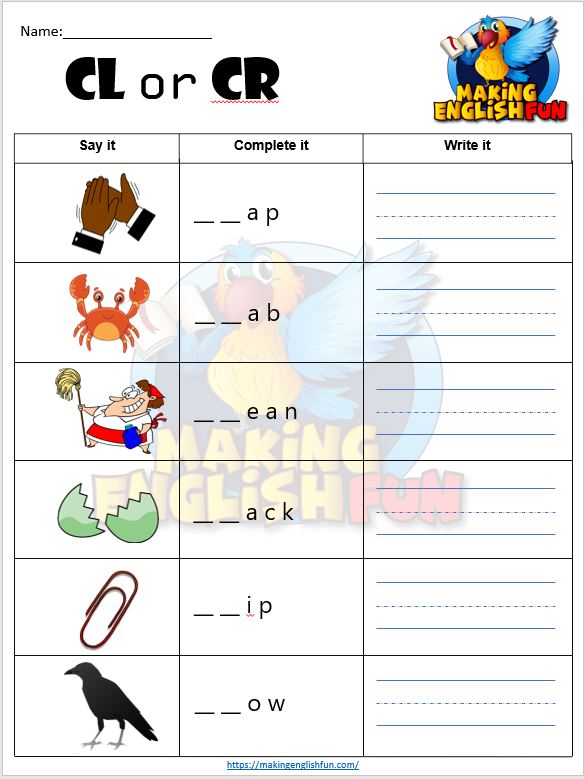 FREE Consonant Blends CL and CR Worksheets