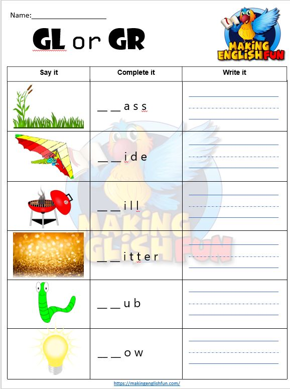 FREE consonant blends Worksheets G blends