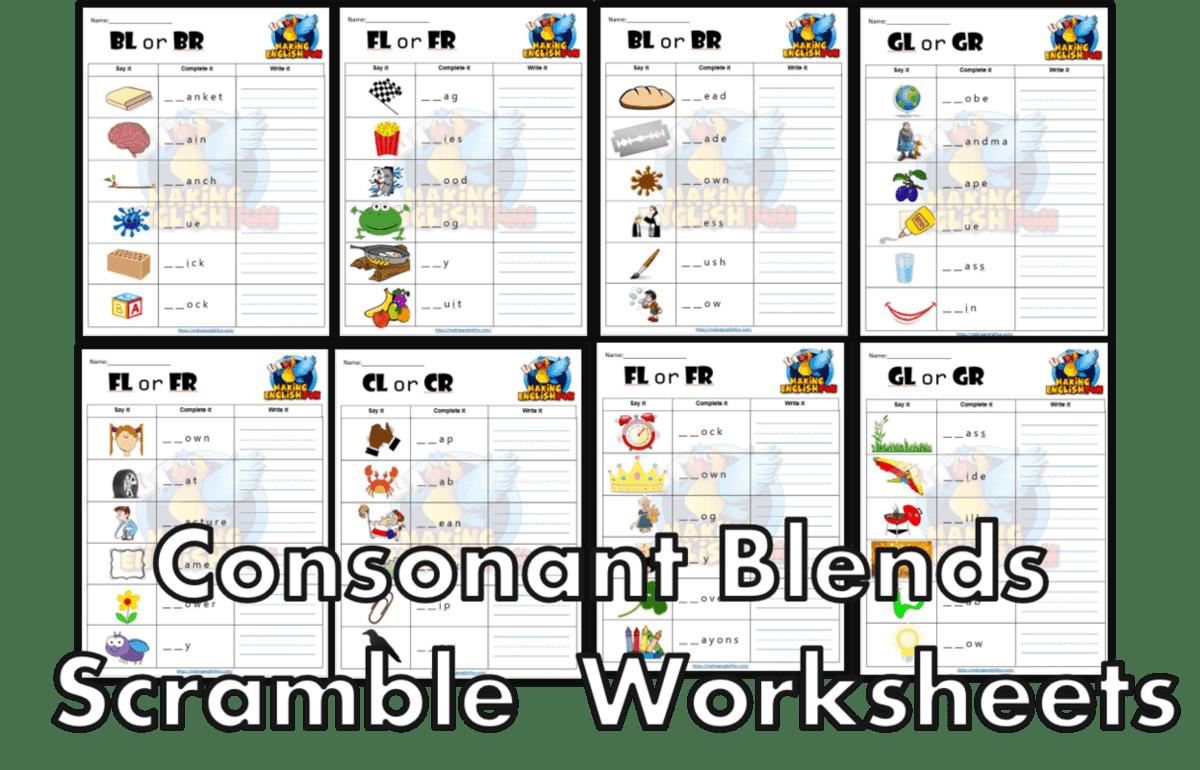 FREE consonant blends Worksheets