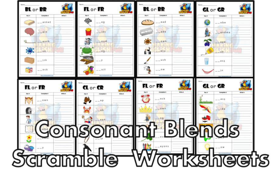 FREE consonant blends Worksheets