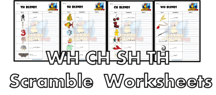 Digraph Scramble phonics Worksheets