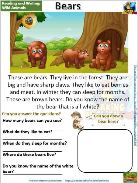 FREE guided reading worksheets and readers bear