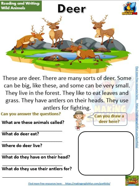 FREE guided reading worksheets and readers deer