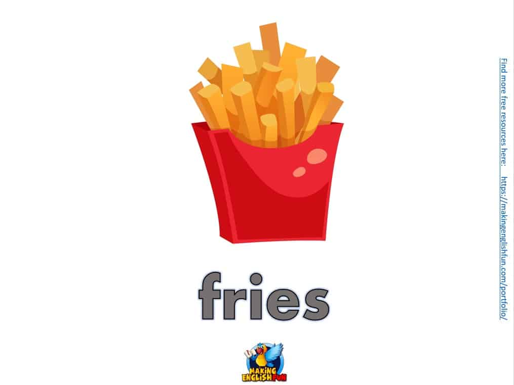 FREE food Flashcards for ESL kindergarten fries