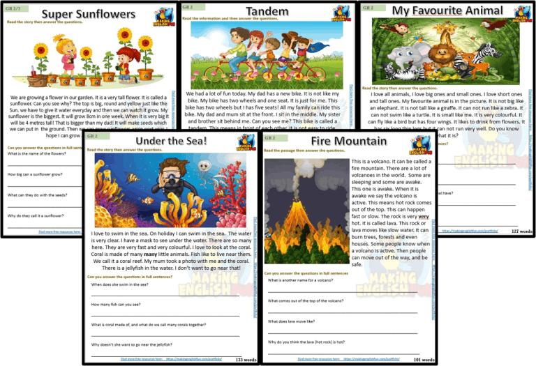 Grade 2 – Reading / Writing Comprehension Cards for Kindi,  Primary and ESL Students – Set 2