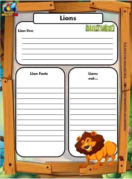 Free Animal Writing Worksheets for ESL lion