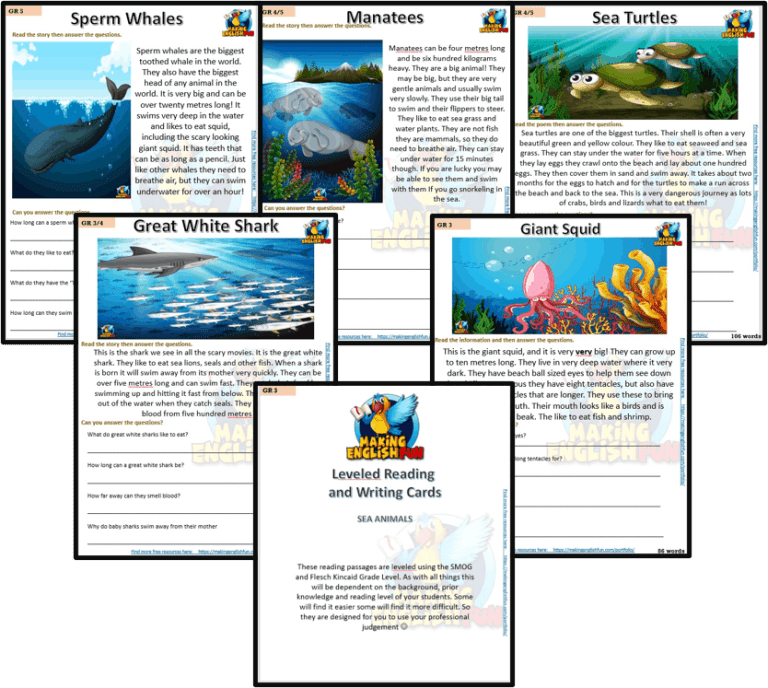 Reading and Writing Comprehension Cards – Sea Animals – Multi Grade