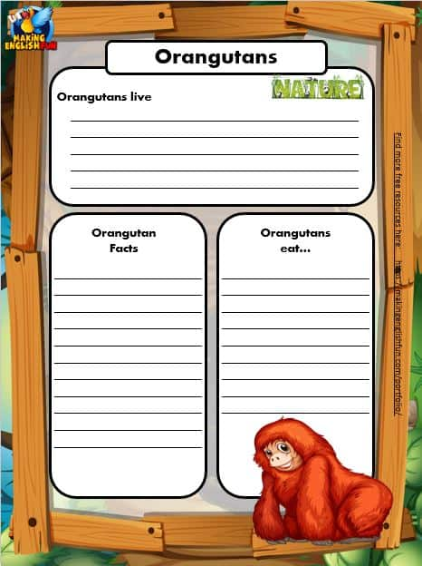 Free Animal Writing Worksheets for ESL orangutan