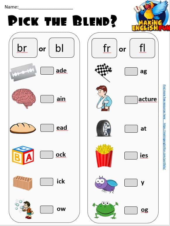BR BL consonant blends